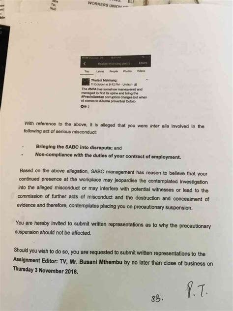 Zuma Resignation Letter Sabc Journalist In Danger Of Suspension Social Media Post