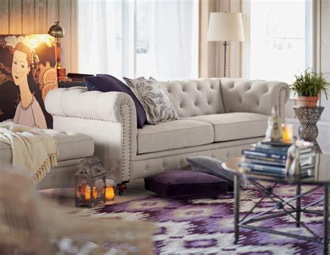 purple tufted couch tufted sofa purple love it homedecorators com