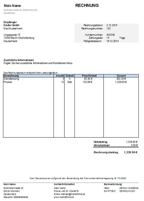 Kleinunternehmer Rechnung Nummer Kleinunternehmer Rechnung Kostenlose Vorlage In Excel