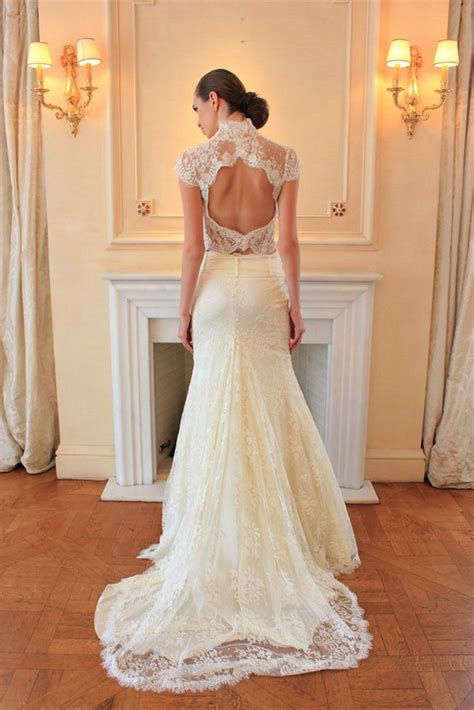 lace open back wedding dress   iPunya