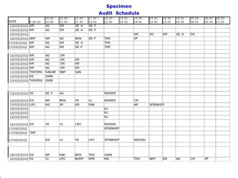 audit schedule template read book audit schedule template excel pdf