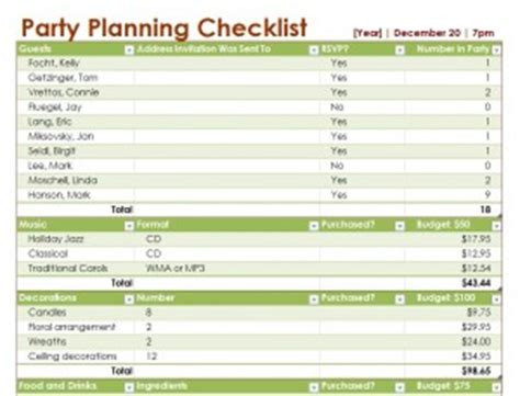Party Planning Checklist Template Free Printables Word Excel Event Planning Checklist Template Excel