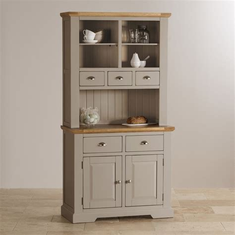 oak and light grey painted small dresser