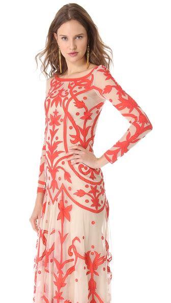 temperley london tattoo dress lyst temperley london long francine tattoo dress in red