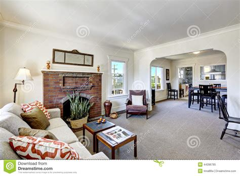 interior design for american house room with brick fireplace in old american house stock