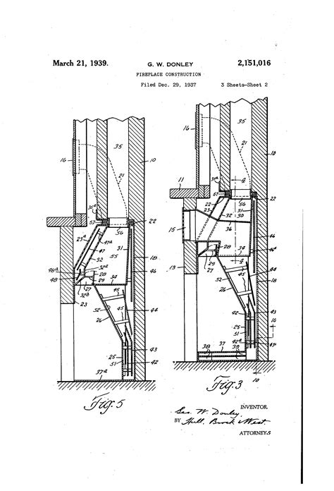 Fireplace Chimney Construction by Patent Us2151016 Fireplace Construction Patents
