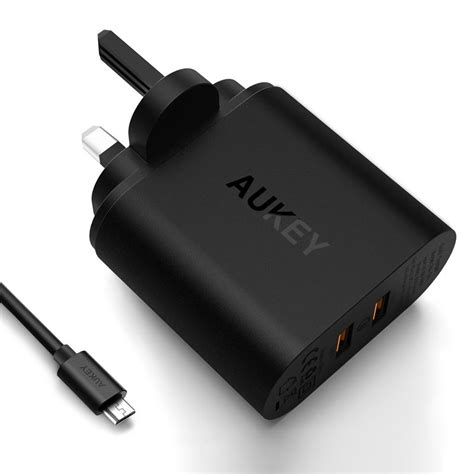 Aukey Oc 3 0 Pa T16 Wall Charger aukey pa t16 2 port 36w wall charger with qc 3 0 price in