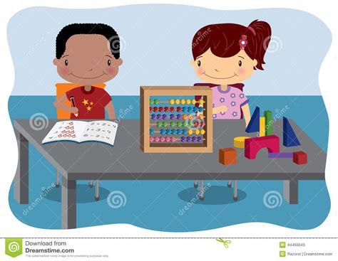 imagenes de niños trabajando matematicas lecciones de la matem 225 ticas de los ni 241 os ilustraci 243 n del