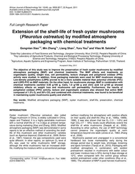 Modified Atmosphere Packaging Diagram by Extension Of The Shelf Of Fresh Oyster Mushrooms