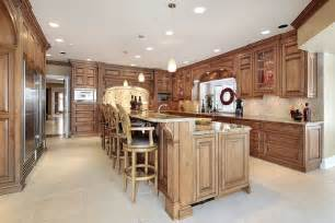 Custom Kitchen Island Ideas by All Wood Kitchen With Large 2 Tiered Kitchen Island With