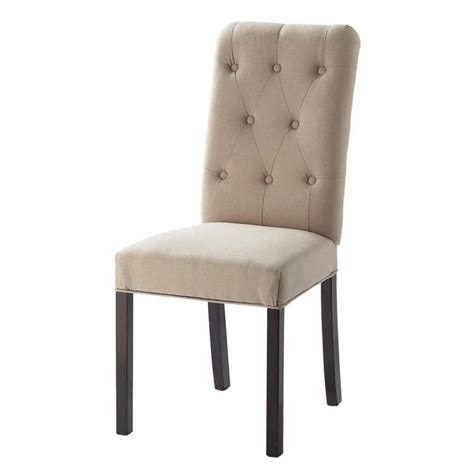 Linen Chairs by Linen And Wood Button Chair In Beige Elizabeth Maisons