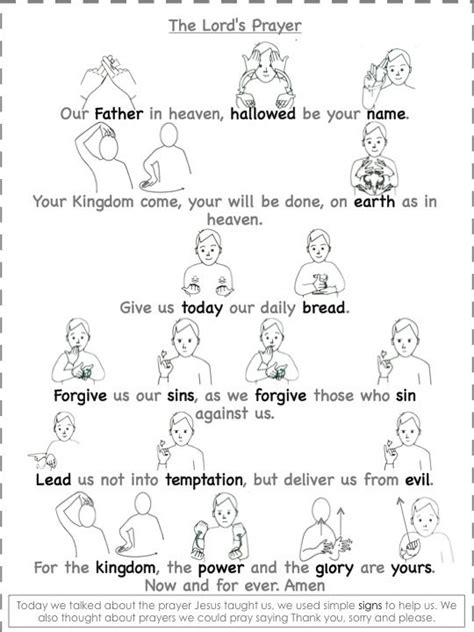 understanding the lord s prayer worksheet worship praise the lord s prayer in sign language walking with faith in god 2