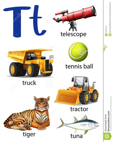 colors that start with t letter t for telescope truck tennis tractor tiger