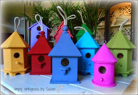 colorful bird houses simply vintageous by suzan painted birdhouses