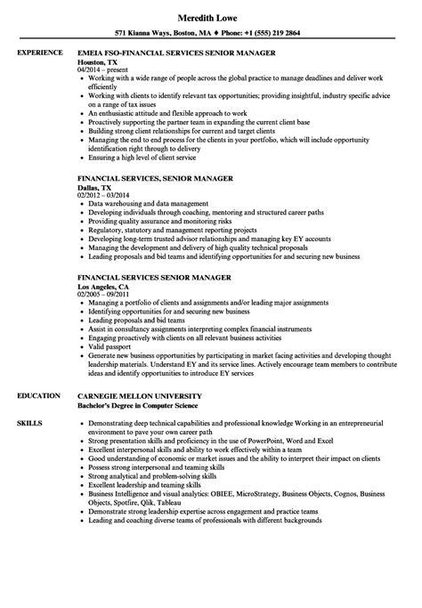 senior finance manager resume format financial services senior manager resume sles velvet