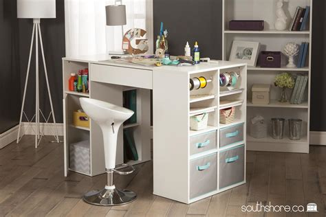 counter height craft table with storage south shore crea counter height craft table with storage