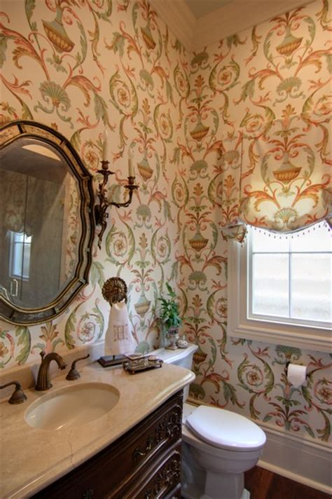houzz wallpaper bathroom guest bathroom with arabesque wallpaper traditional