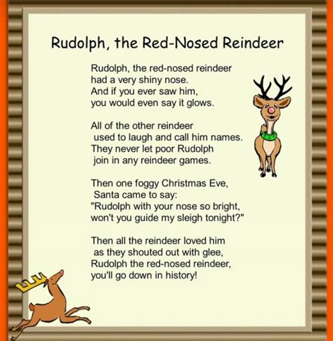 printable lyrics to rudolph the red nosed reindeer christmas carols for children