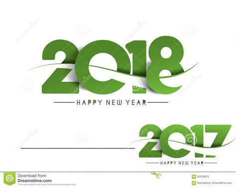 new year design 2018 happy new year 2018 2017 text design stock vector