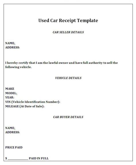 Receipt Of Sale Template by Car Sale Receipt Template Template Business