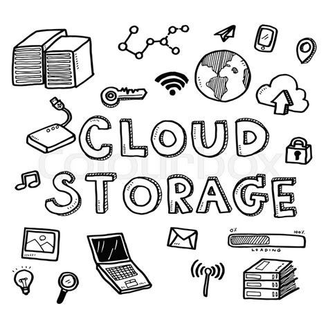 doodle startup draw business doodles cloud storage icons and words