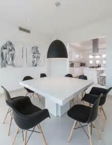 mesas  sillas de comedor al estilo monocromatico en