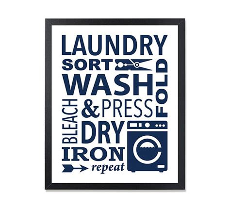 laundry design poster laundry printable navy laundry sign wash dry fold repeat