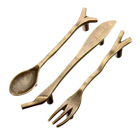 3pcs bronze spoon knife fork kitchen cabinet handles