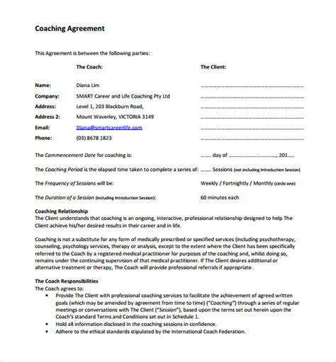 executive coaching agreement template sle coaching agreement 11 ideas to organize your own