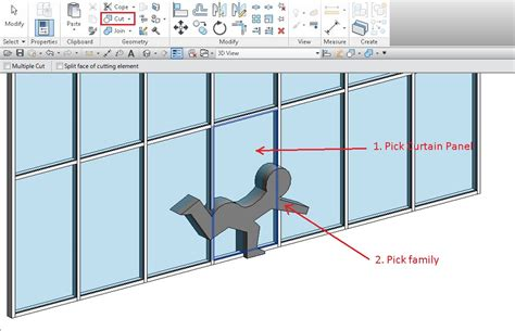 curtain wall mullion revit using a solid form as a void to cut curtain panels and