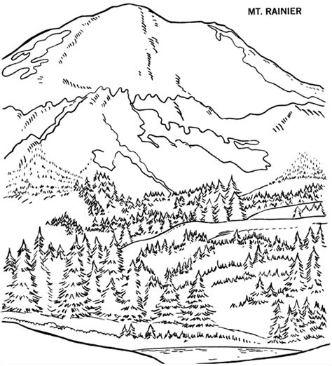 mountain scene with houses coloring pages coloring pages