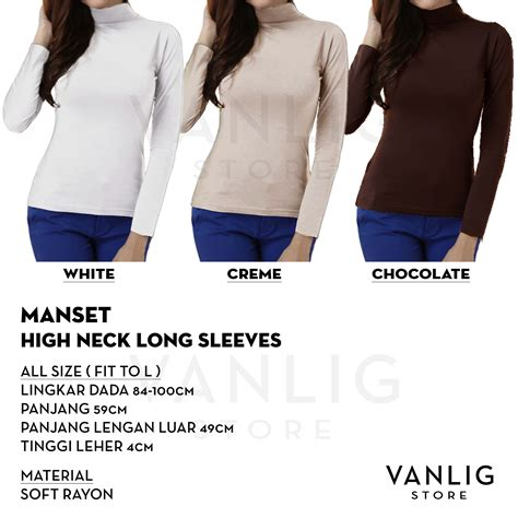 Turtle Neck High Blouse Lengan Tangan Panjang Sleeve Polos manset turtle neck low neck sleeves kaos lengan panjang turtleneck hitam putih