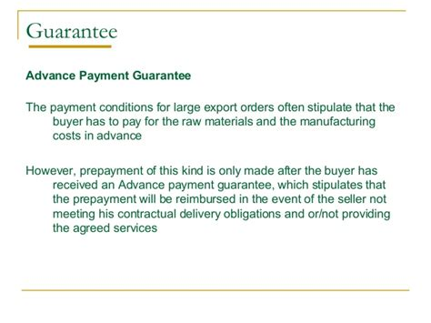 Bank Guarantee Letter For Advance Payment Trade Finance Identification Of Needs And Product Offerings