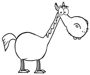 Funny Cartoon Horse Drawings Sketch Coloring Page sketch template
