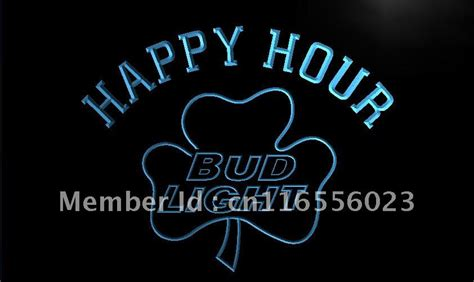 bud light shamrock neon sign la665 bud light shamrock happy hour beer bar neon sign