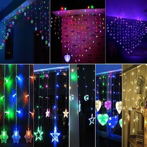 hang christmas lights on windows pendants hanging led string curtain light house window room wall ebay