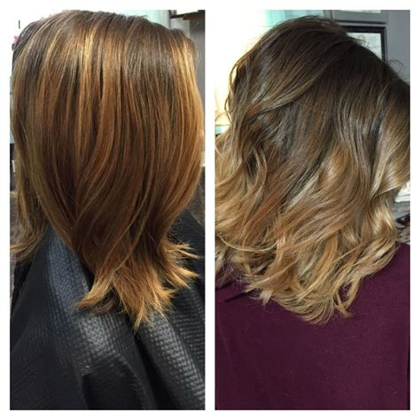 balayage highlights mid length hair before and after 57 best images about hair inspiration on pinterest rose