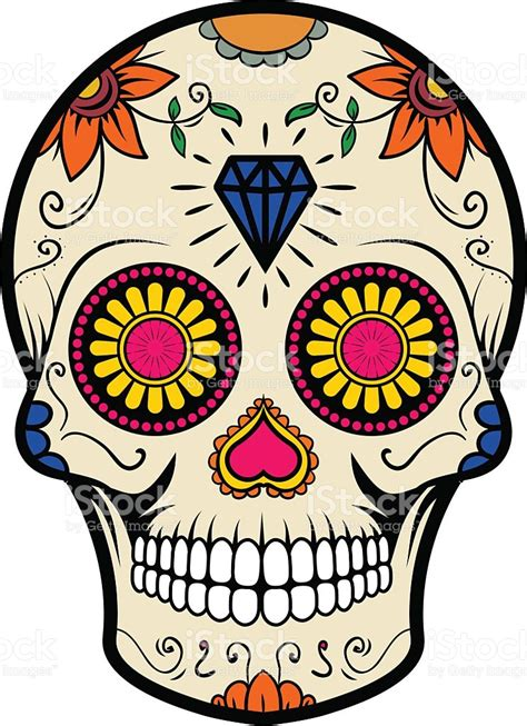 Sugar Skull Isolated On White Background Day Of The Dead Day Of The Dead Skull Vector