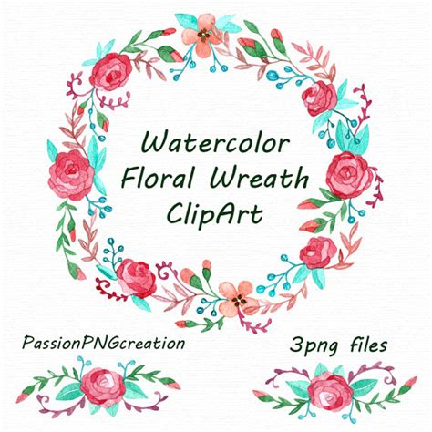 Set Floral 116 Busui Quality watercolor floral wreath clipart watercolor borders