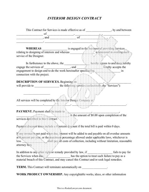 interior decorating contract template sle interior design contract form template document