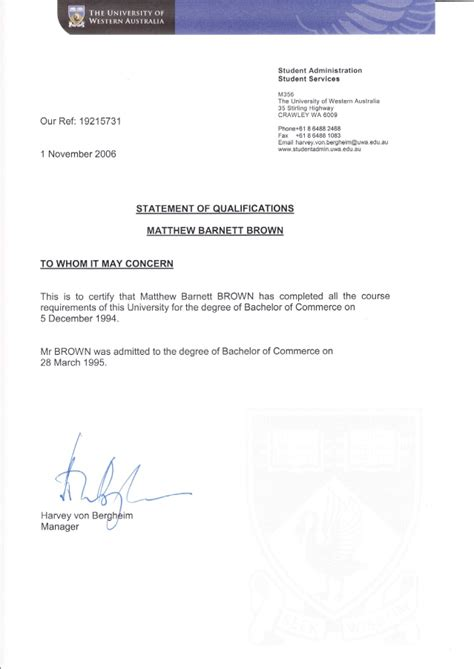 Degree Letter Uwa Degree Confirmation Letter