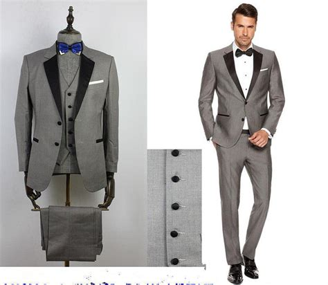 Current Interior Design Trends by 2016 Custom Grey Mens Suits Black Lapel Slim Fit Wedding