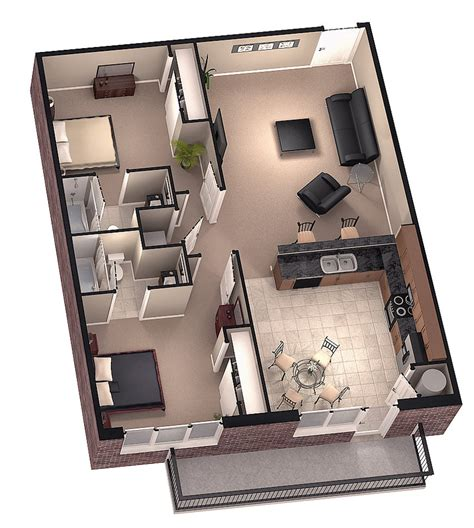 floor plan in 3d tiny house floor plans brookside 3d floor plan 1 by