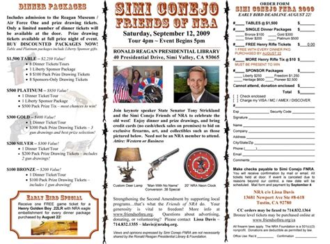 Nra Fundraising Letter simi conejo friends of nra 4th annual fundraiser the