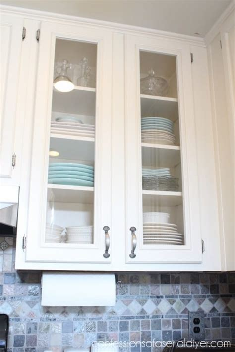 glass for kitchen cabinet doors added with neutral nuance 15 diy kitchen projects