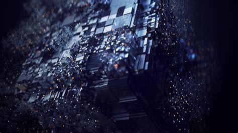 wallpaper dark cube particles digital art wallpapermaiden