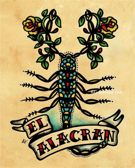 tattoo art prints school scorpion el alacran loteria print 5