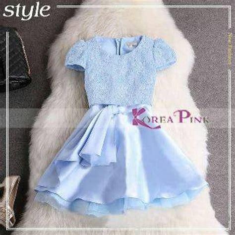 Beli 2 Satin Import Dress Murah jual blue satin dress gaun pesta anak korea pink biru
