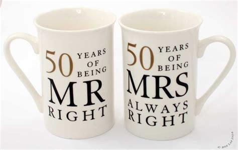 50th Anniversary Gift Set Two China Mugs Mr Right and Mrs
