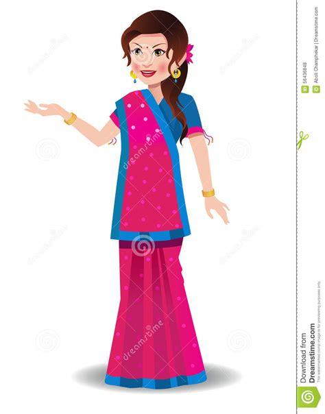 indian woman   gujarati saree stock vector image